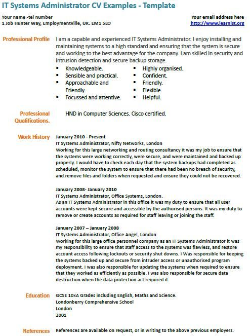 it systems administrator cv example examples free resume samples system admin format mcse Resume System Admin Resume Format