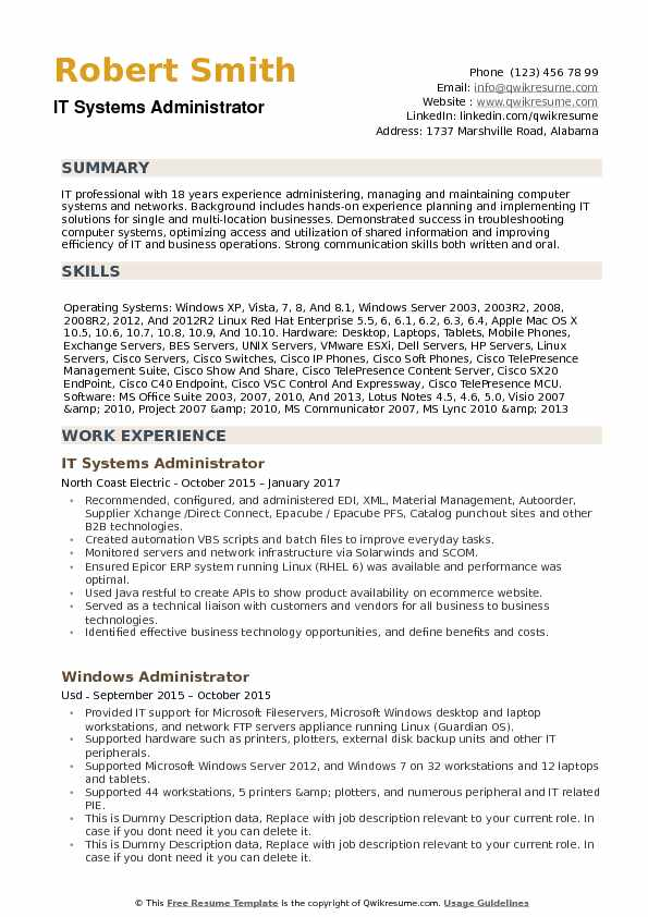 it systems administrator resume samples qwikresume system sample pdf ats test free Resume System Administrator Resume Sample Download