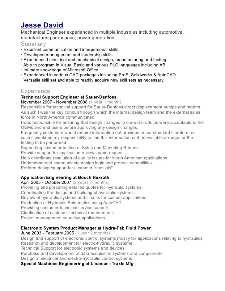 jesse david mechanical engineer resume application independent consultant for ex felons Resume Mechanical Application Engineer Resume