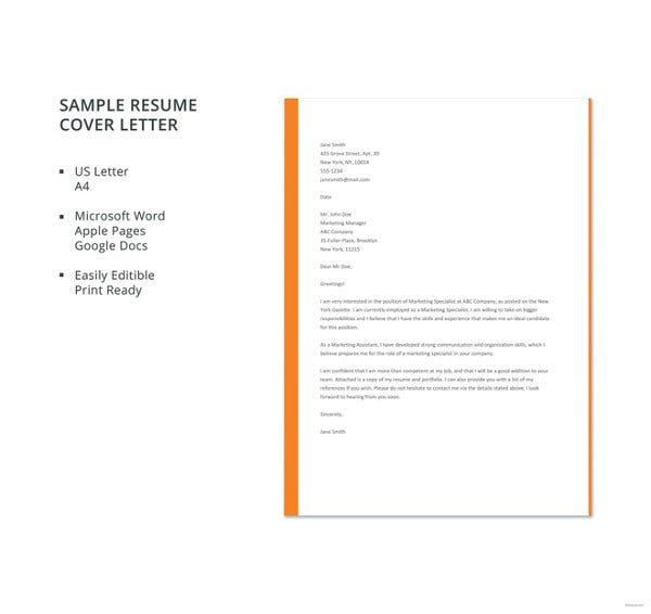 job cover letter template free word pdf documents premium templates resume sample Resume Resume Cover Letter Template