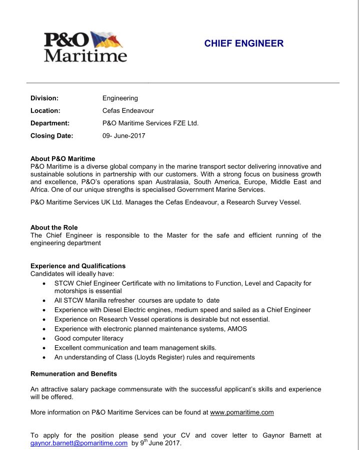 job opportunity chief engineer with maritime services fze ltd nmci blog bosiet offshore Resume Marine Chief Engineer Resume Sample