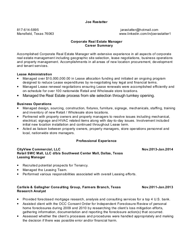 joe rastatter resume corporate estate manager marketing sample physiotherapist template Resume Real Estate Marketing Resume Sample