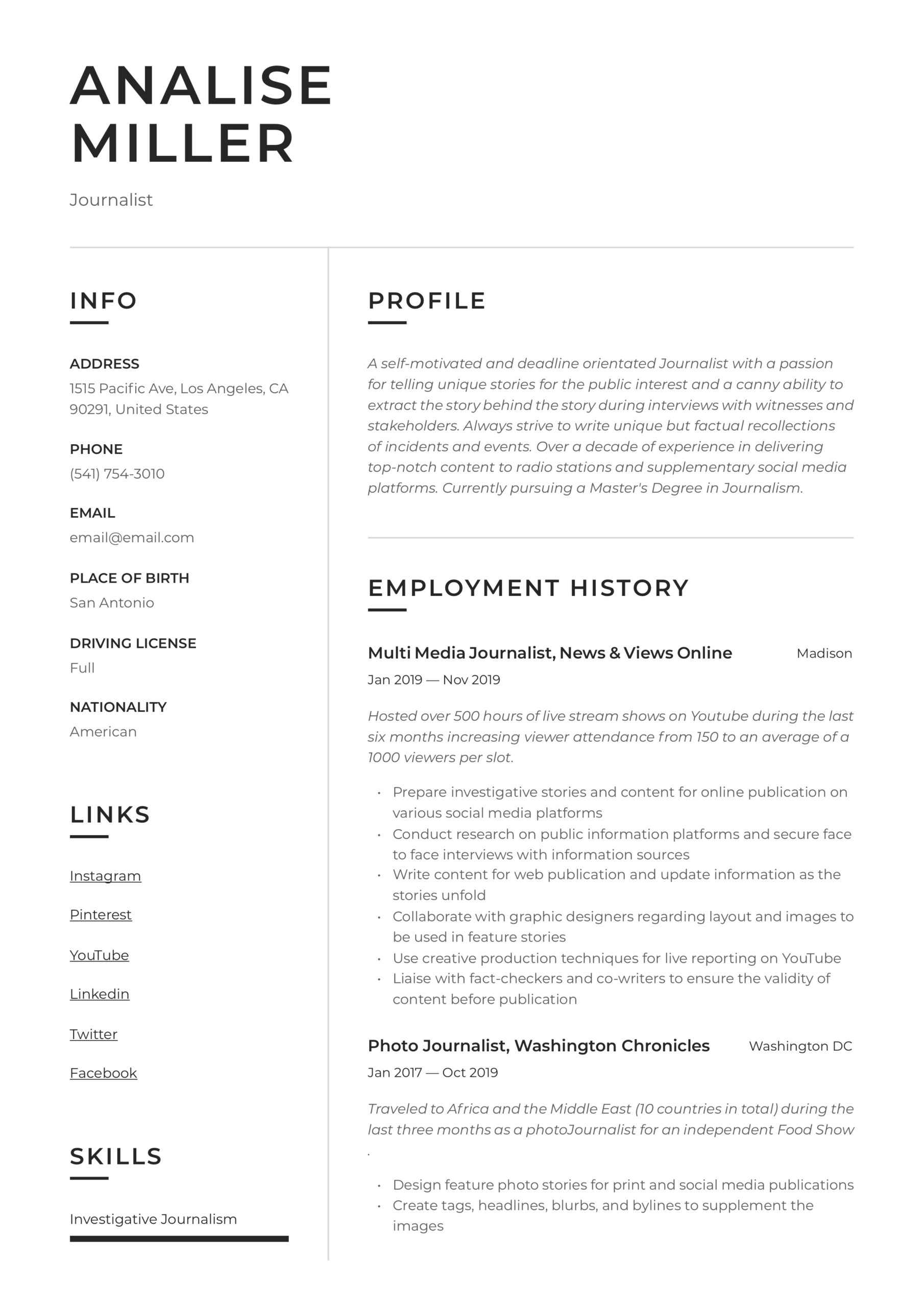 journalist resume writing guide templates self motivated examples example of introduction Resume Self Motivated Resume Examples