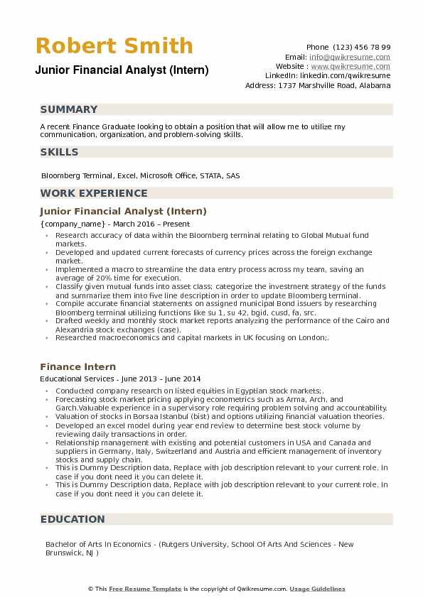 junior financial analyst resume samples qwikresume objective for economics graduate pdf Resume Resume Objective For Economics Graduate