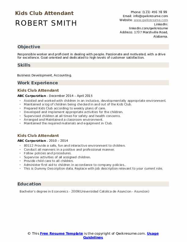 kids club attendant resume samples qwikresume skills and activities example pdf beginner Resume Skills And Activities Resume Example