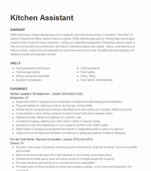 kitchen assistant resume example resumes livecareer staff job description for communicate Resume Kitchen Staff Job Description For Resume