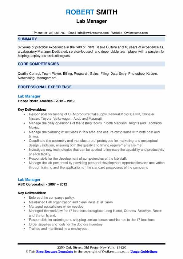lab manager resume samples qwikresume laboratory pdf outreach good terms film editor Resume Laboratory Manager Resume