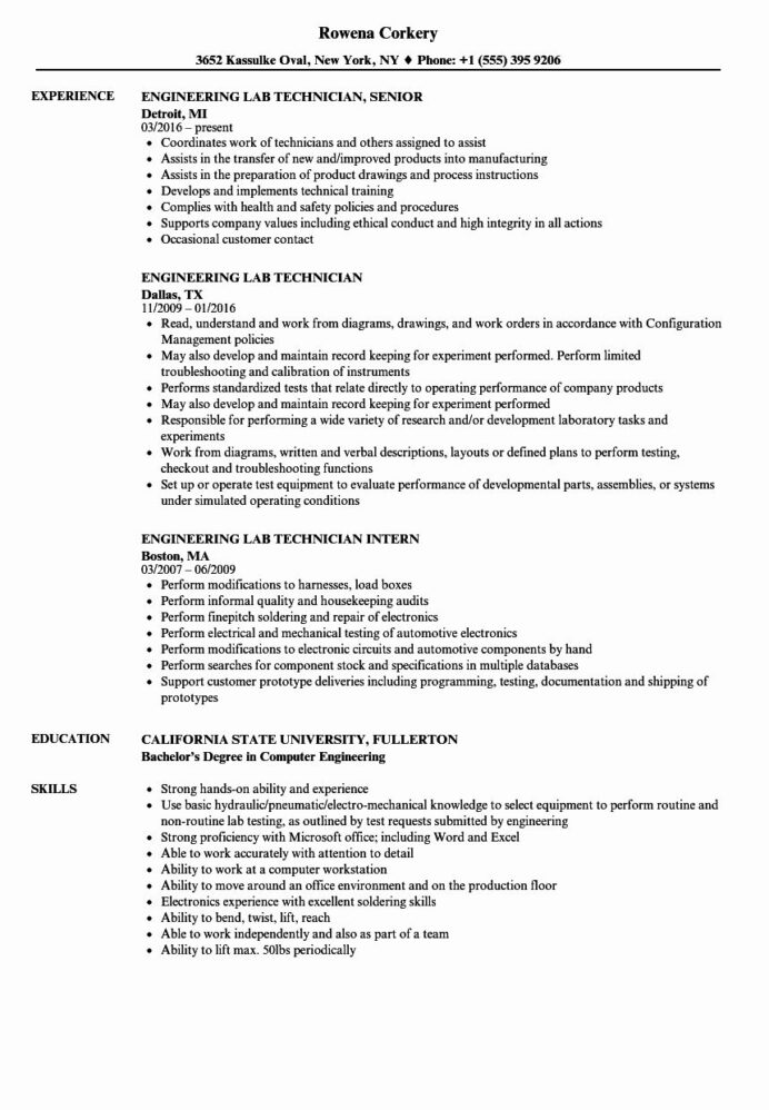 lab technician resume examples fresh engineering samples job soldering with little Resume Soldering Technician Resume