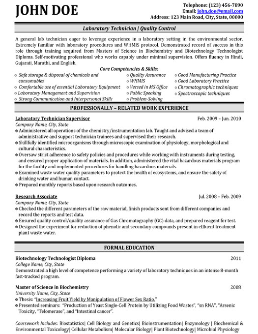 laboratory quality control resume sample template biochemistry student technician Resume Biochemistry Student Resume