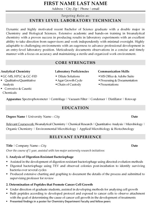 laboratory technician resume sample template clinical lab entry level mwd field engineer Resume Clinical Lab Technician Resume Sample