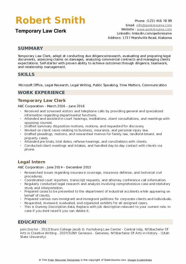 law clerk resume samples qwikresume job description pdf email template for submitting Resume Law Clerk Job Description Resume