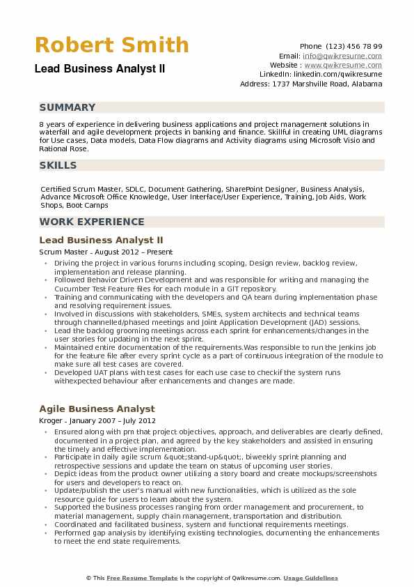 lead business analyst resume samples qwikresume profile summary for pdf filling out canva Resume Resume Profile Summary For Business Analyst