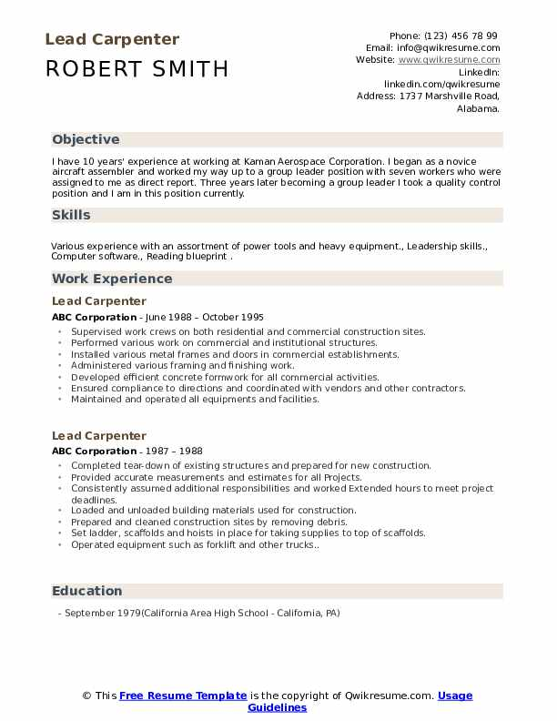 lead carpenter resume samples qwikresume job description for pdf designer objective cna Resume Carpenter Job Description For Resume