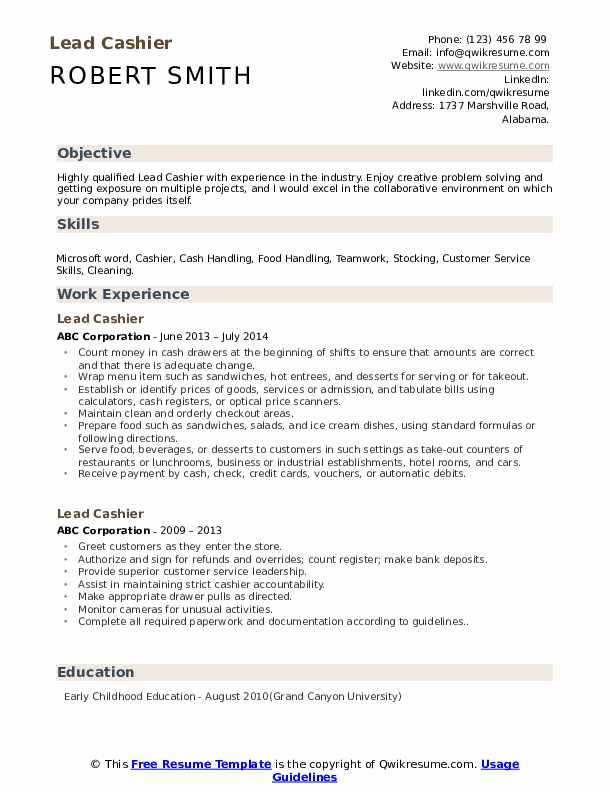 lead cashier resume samples qwikresume responsibilities pdf good college examples after Resume Cashier Responsibilities Resume