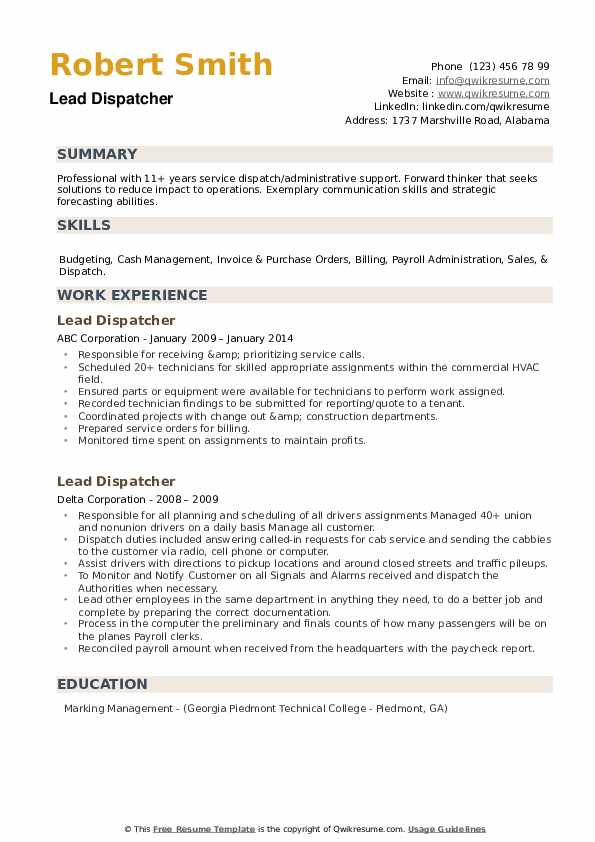 lead dispatcher resume samples qwikresume skills pdf content for sending monster format Resume Dispatcher Resume Skills