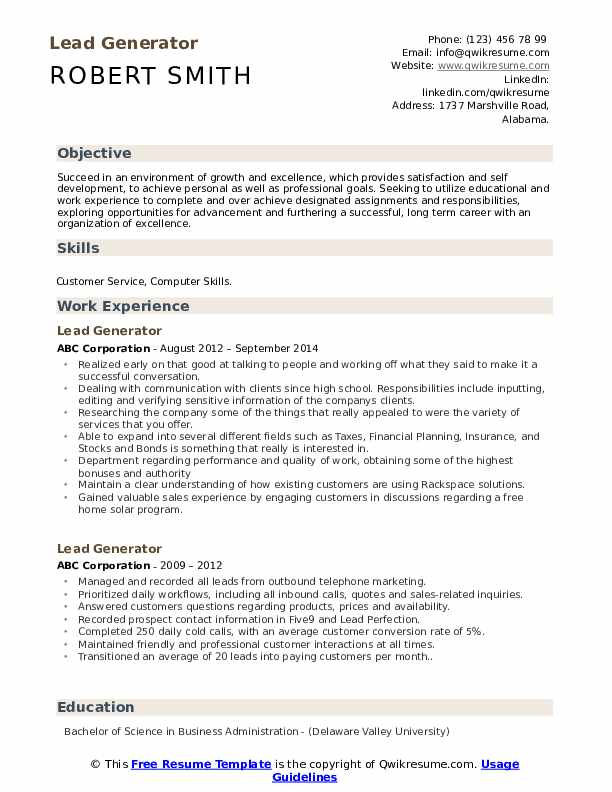 lead generator resume samples qwikresume summary pdf post on indeed itouch reviews entry Resume Resume Summary Generator