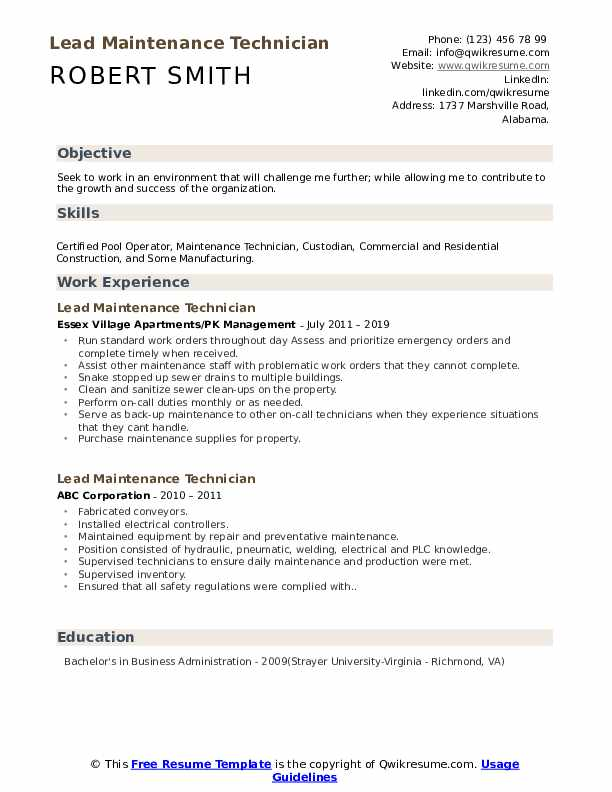 lead maintenance technician resume samples qwikresume free templates pdf mba objective Resume Free Maintenance Resume Templates