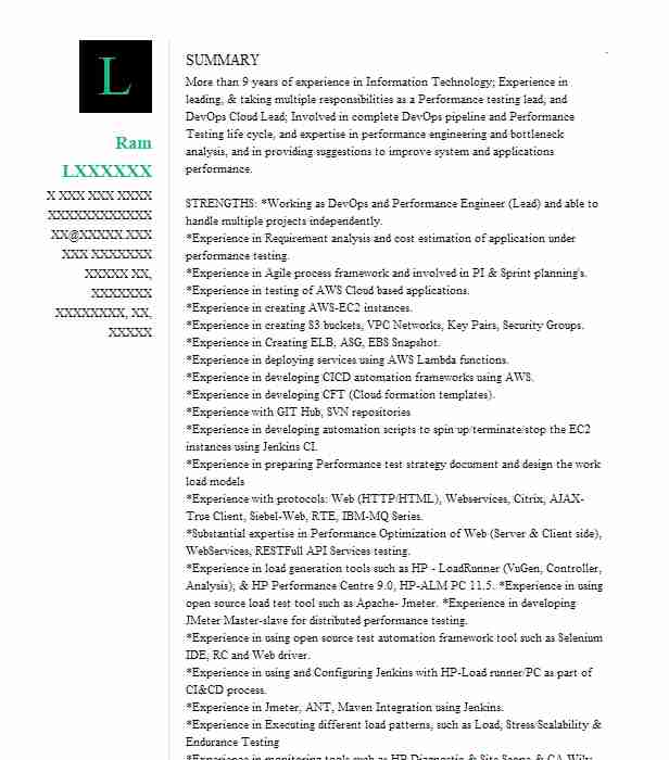 lead performance engineer resume example cognizant technology solutions mountain view Resume Jmeter Experience Resume