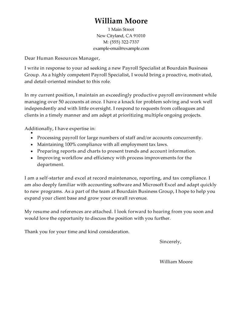 leading professional payroll specialist cover letter examples resources myperfectresume Resume Payroll Specialist Resume Example
