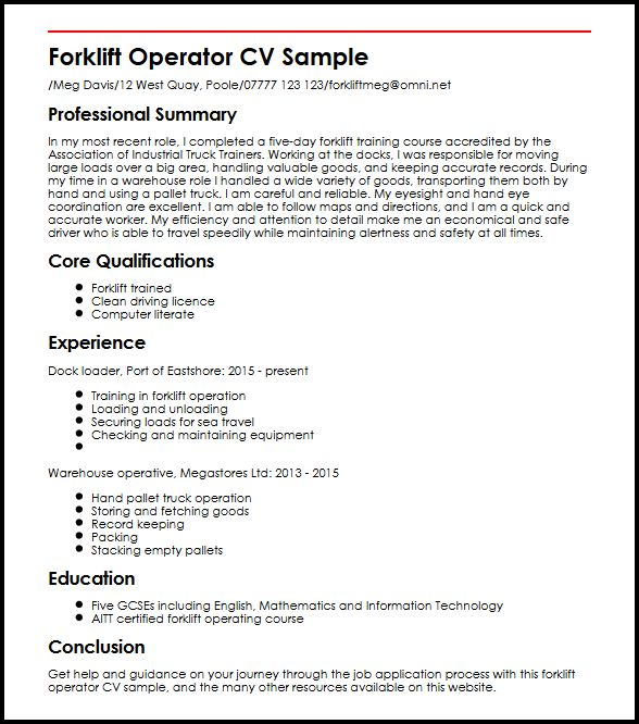 learn to create perfect forklift operator cv myperfectcv summary for resume sample basic Resume Forklift Operator Summary For Resume