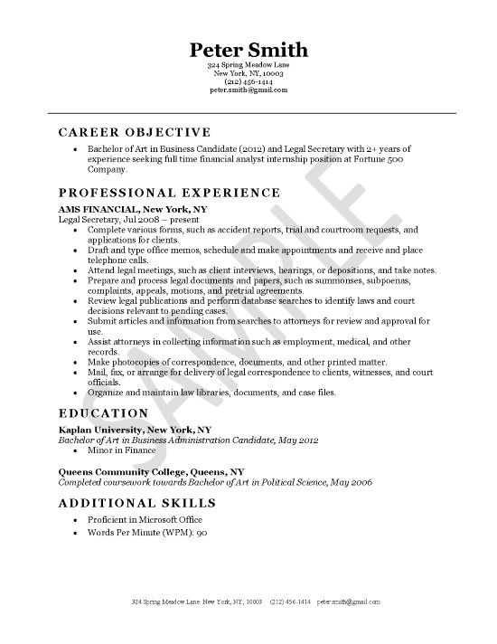 legal secretary resume example political science objective examples exleg11 sample for Resume Political Science Resume Objective Examples