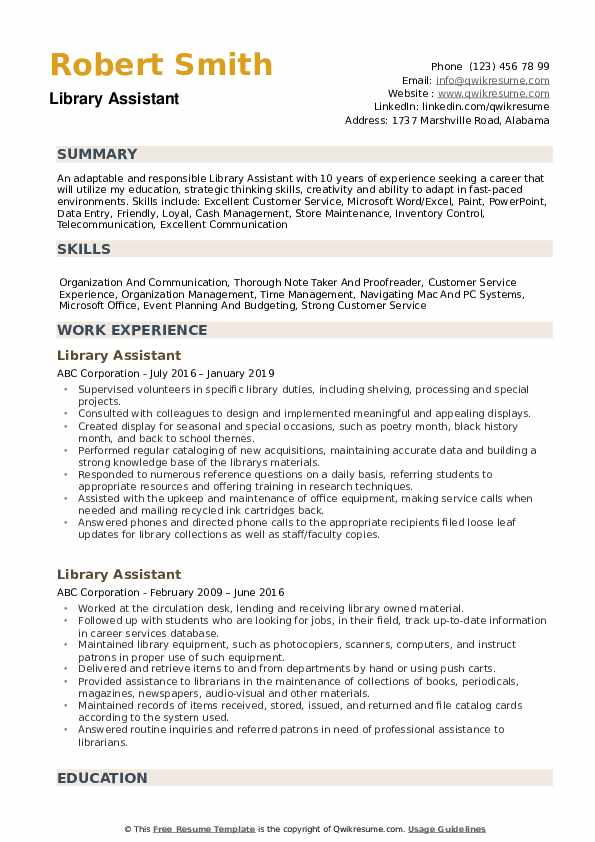 library assistant resume samples qwikresume librarian skills pdf recruiter summary Resume Librarian Skills Resume