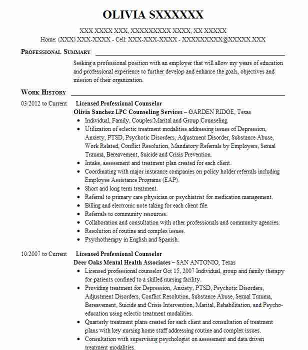 licensed professional counselor lpc resume example private practice san antonio fast Resume Licensed Professional Counselor Resume