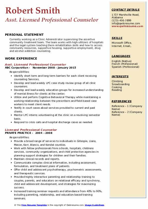 licensed professional counselor resume samples qwikresume pdf international format for Resume Licensed Professional Counselor Resume
