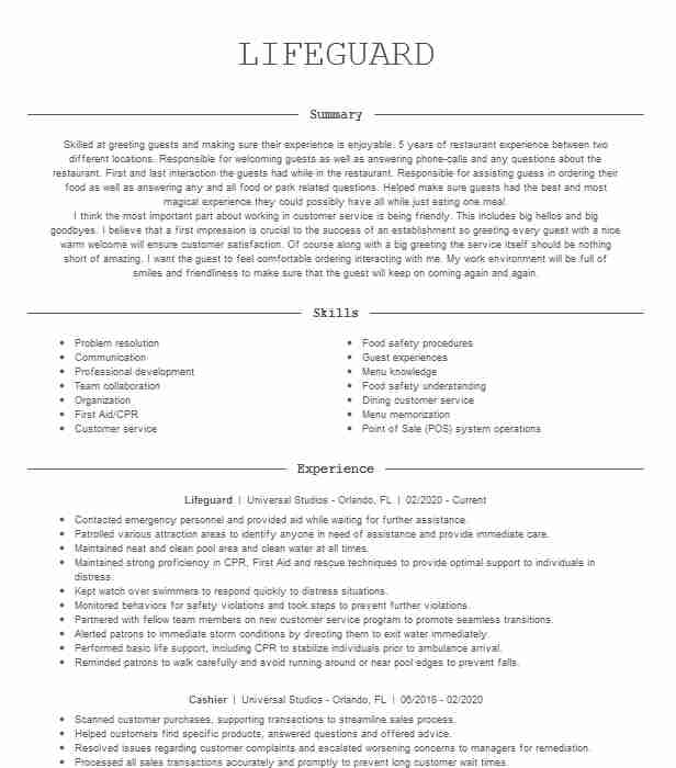lifeguard resume example great wolf lodge concord north carolina examples the clinic Resume Lifeguard Resume Examples