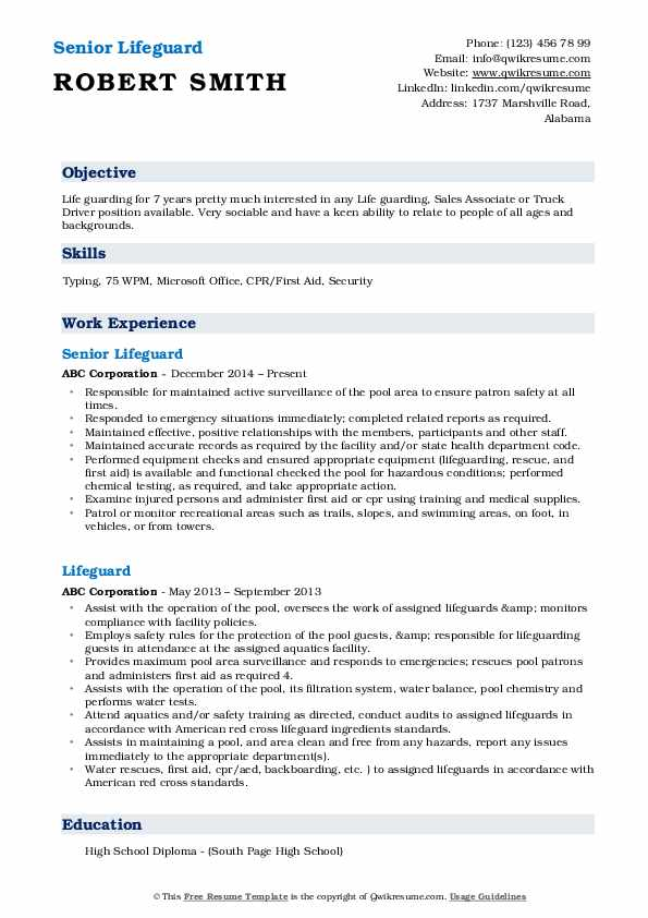 lifeguard resume samples qwikresume examples pdf lecturer experience sample for Resume Lifeguard Resume Examples