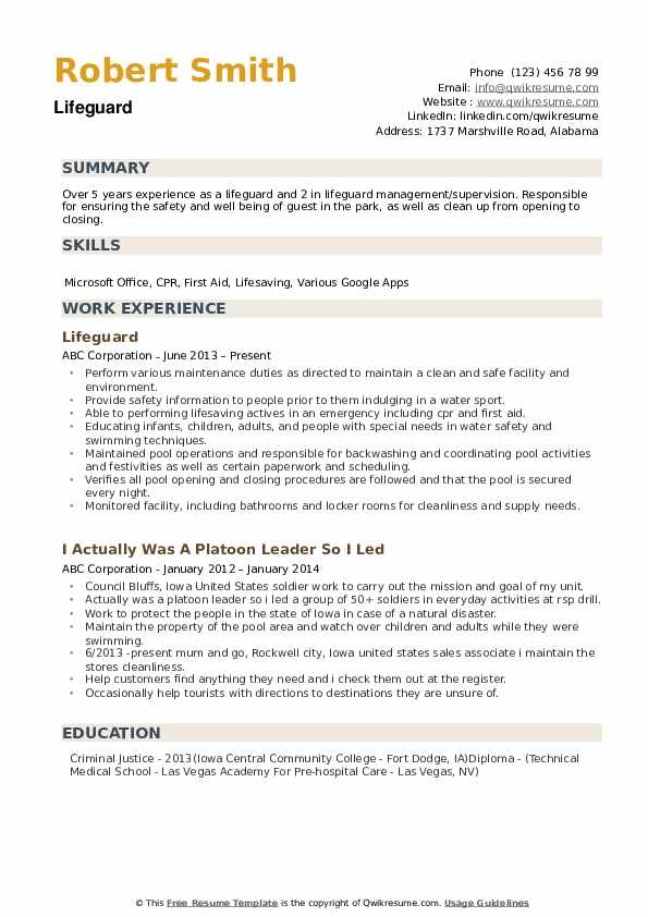 lifeguard resume samples qwikresume examples pdf the clinic paper publications and Resume Lifeguard Resume Examples