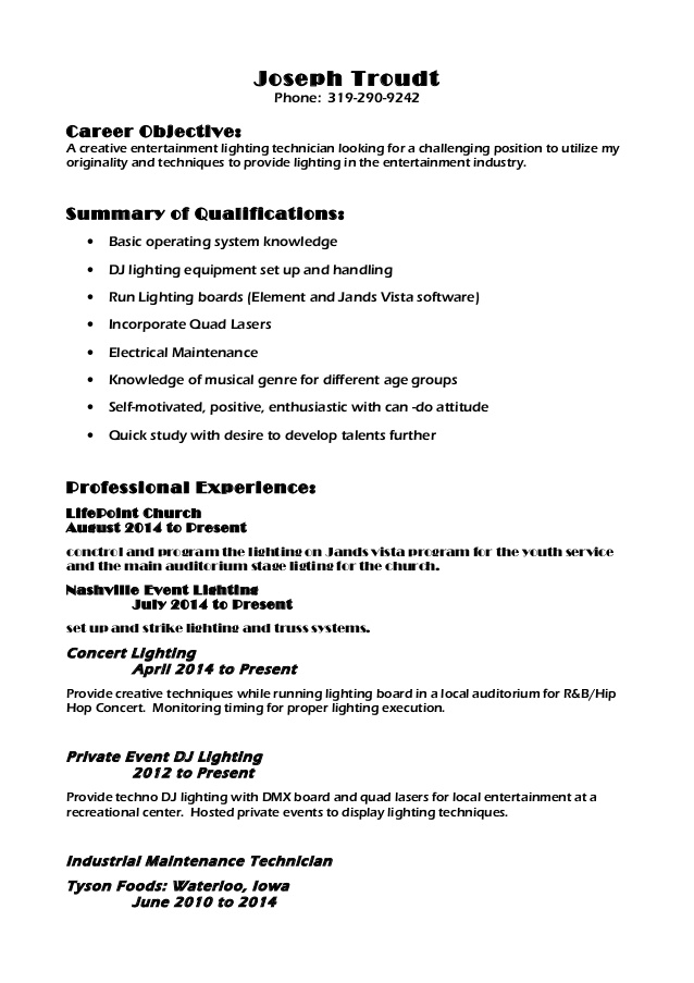 lighting resume technician industrial security specialist mba student examples with Resume Lighting Technician Resume