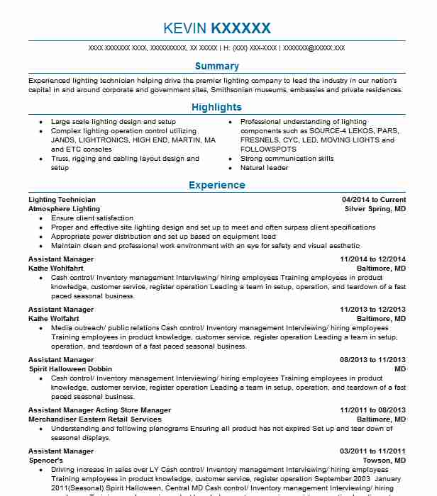 lighting technician resume example creative stage co llc chestertown new software Resume Lighting Technician Resume