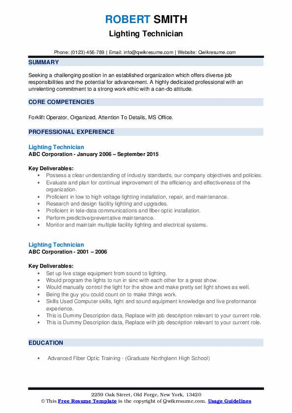 lighting technician resume samples qwikresume pdf awesome onetonline equity research high Resume Lighting Technician Resume