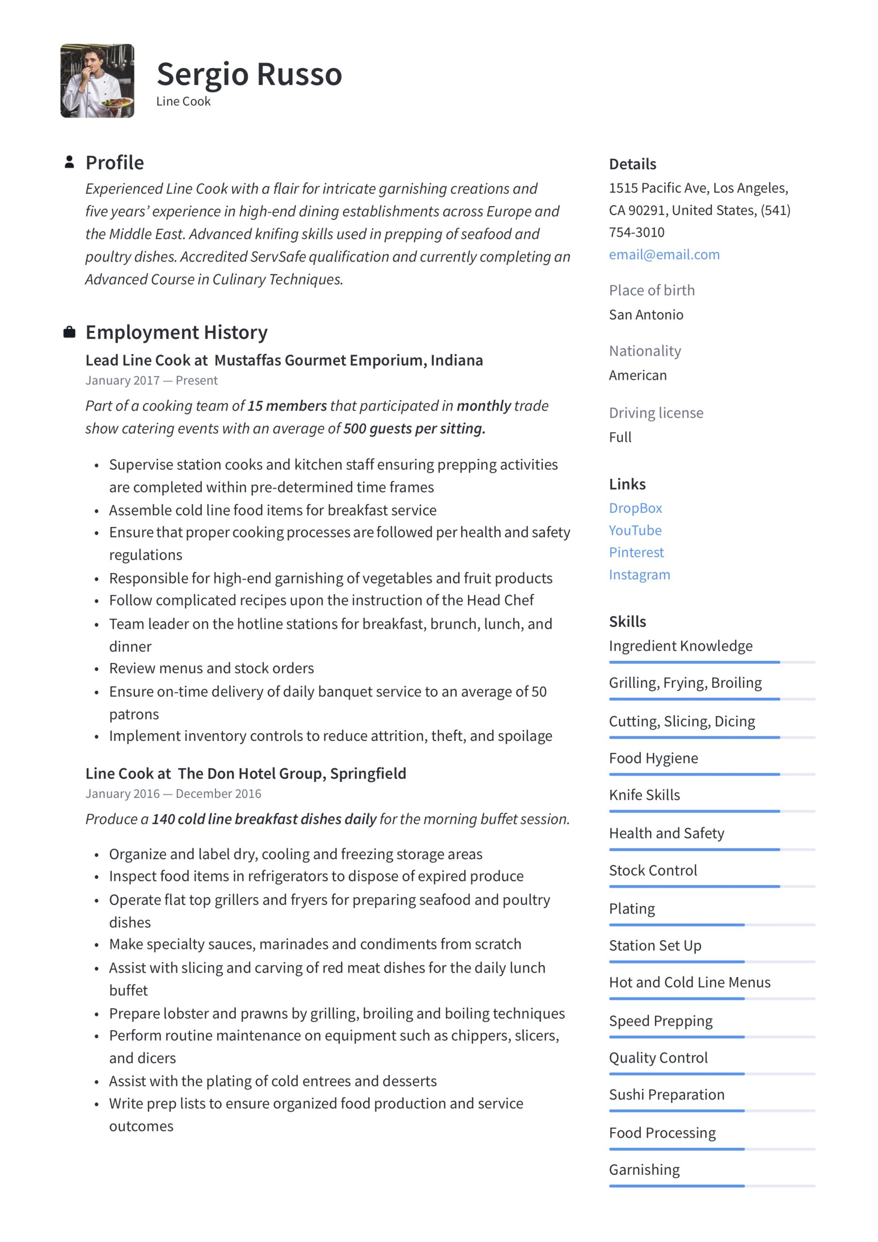 line resume writing guide examples food prep responsibilities google drive support Resume Food Prep Responsibilities Resume