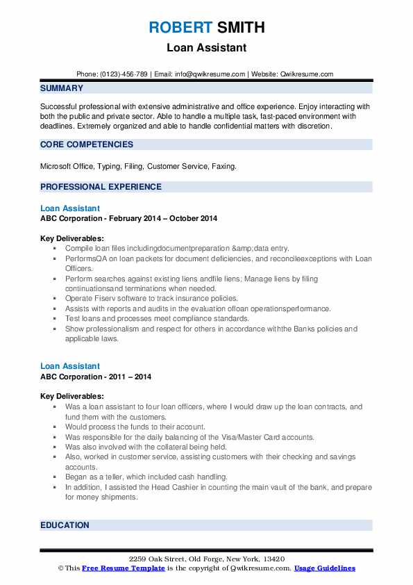 loan assistant resume samples qwikresume sample pdf free builder that can print business Resume Loan Assistant Resume Sample