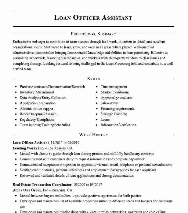 loan officer assistant resume example mortgage planning anaheim sample customer service Resume Loan Assistant Resume Sample