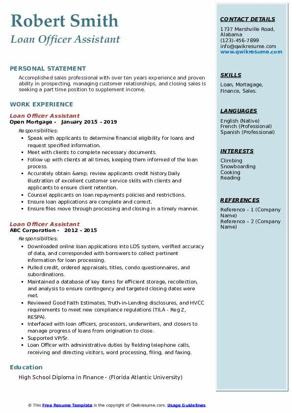 loan officer assistant resume samples qwikresume sample pdf first high school business Resume Loan Assistant Resume Sample