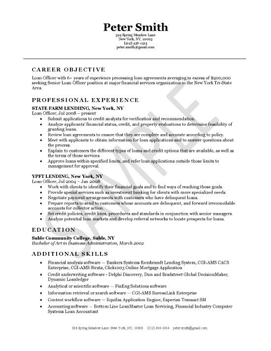 loan officer job resume examples professional samples career objective quotes for Resume Career Objective Quotes For Resume
