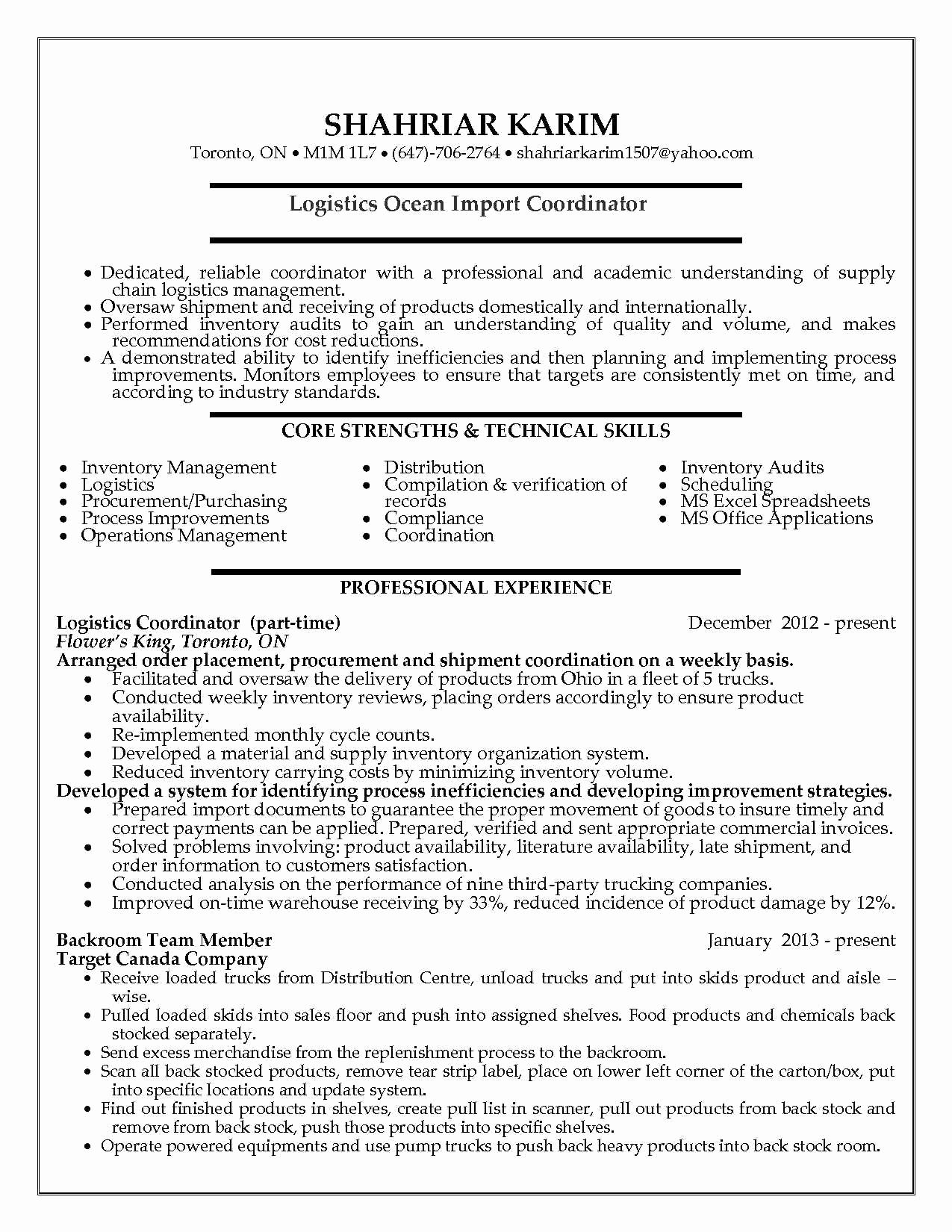 logistic coordinator resume sample logis project manager organizational development Resume Supply Chain Coordinator Resume Sample
