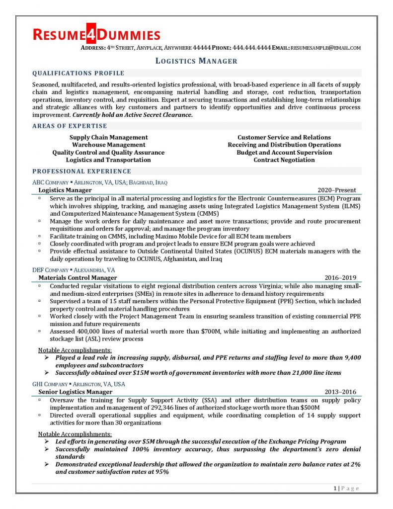 logistics manager resume example resume4dummies director of sample examples 791x1024 Resume Director Of Logistics Resume Sample