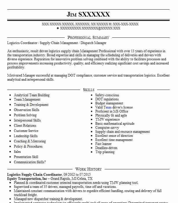 logistics supply chain specialist resume example path new coordinator sample fedex Resume Supply Chain Coordinator Resume Sample