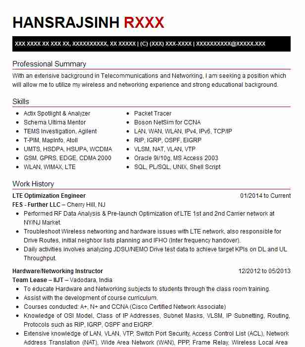lte optimization engineer resume example fes further llc parsippany new packet core phd Resume Packet Core Engineer Resume