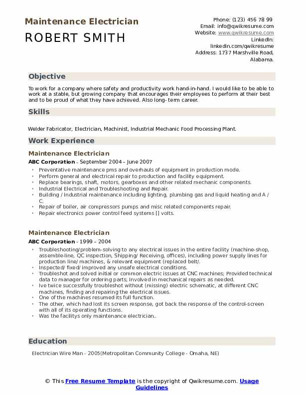 maintenance electrician resume samples qwikresume objective statement pdf hls reporting Resume Electrician Resume Objective Statement