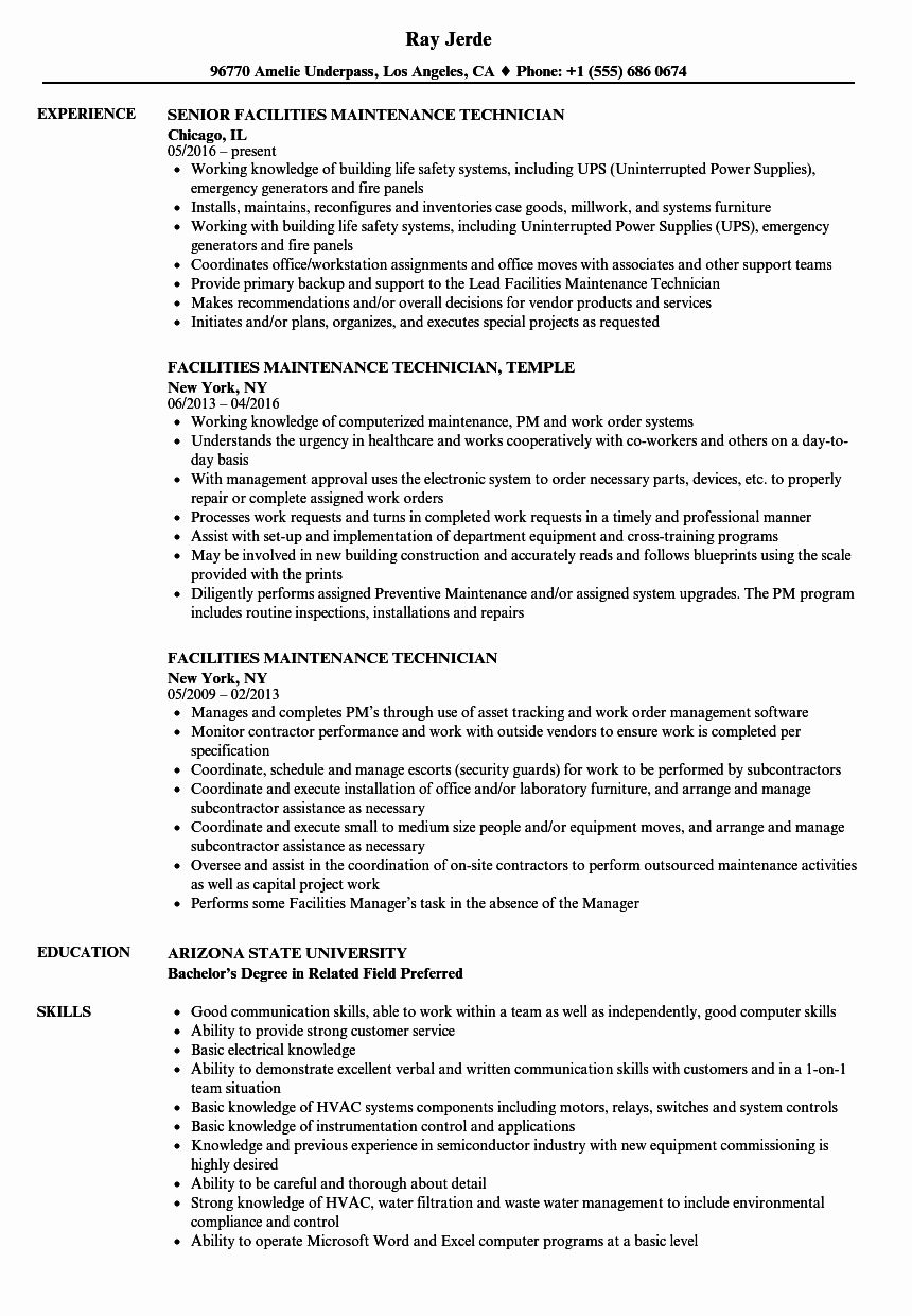 maintenance job description resume luxury facilities technician samples security Resume Maintenance Building Resume