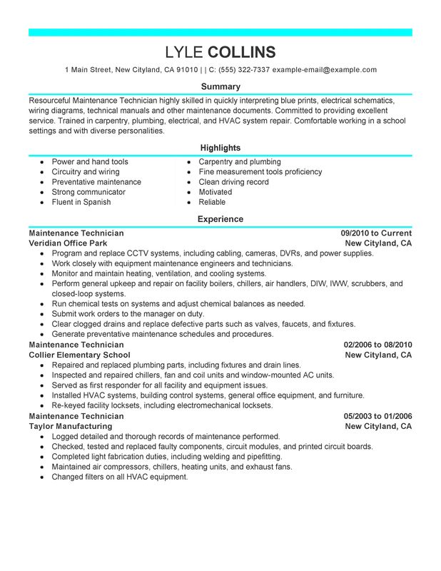 maintenance technician resume examples created by pros myperfectresume and janitorial Resume Maintenance Technician Resume