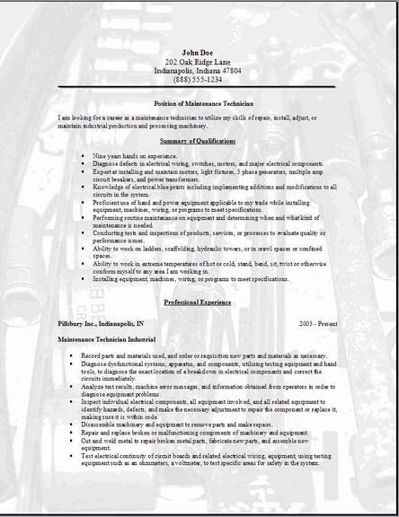 maintenance technician resume occupational examples samples free edit with word templates Resume Free Maintenance Resume Templates