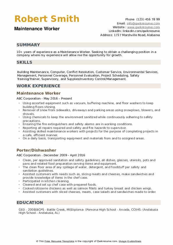 maintenance worker resume samples qwikresume building pdf barista skills fox template bld Resume Maintenance Building Resume