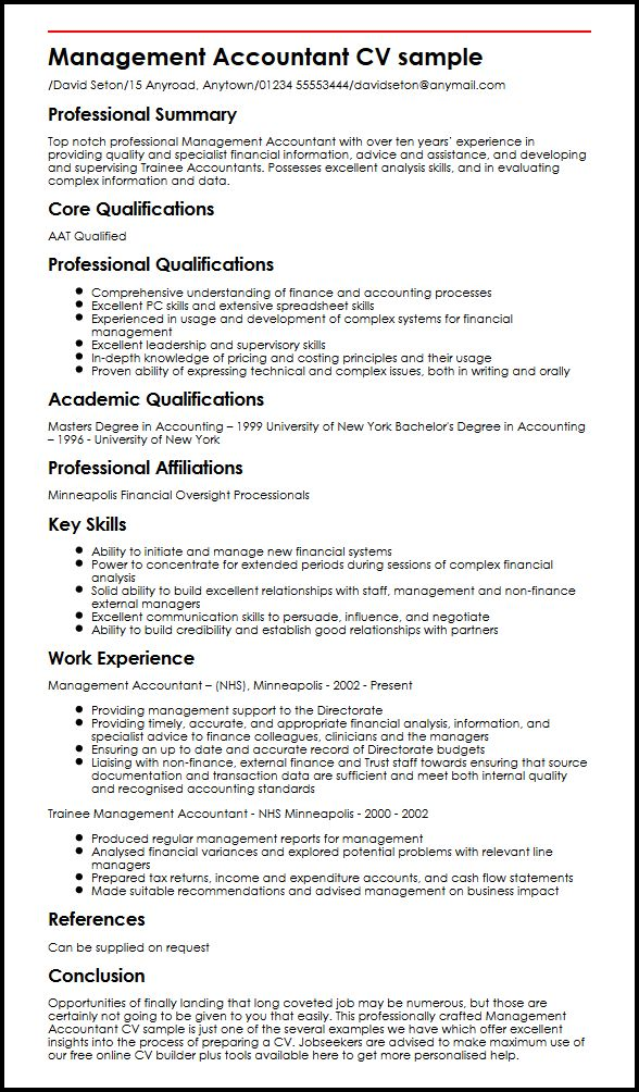 management accountant cv example myperfectcv statements for resume sample ikea past or Resume Power Statements For Resume
