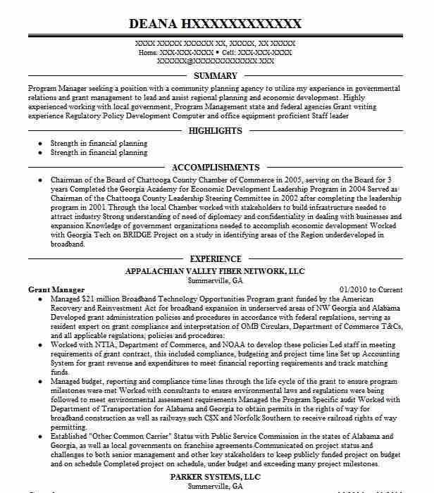 manager resume example district of government ocfo hyattsville sample for sdet writing Resume Sample Resume For Grant Manager
